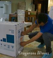 深圳国际搬家公司每件物品张贴带有编号的唛头