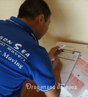 国际搬运公司根据唛头编号填写物品装箱清单
