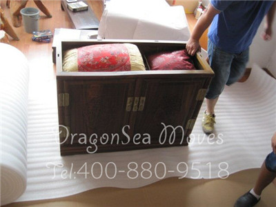 上海国际海运搬家到韩国釜山20尺整柜上门包装案例